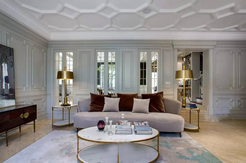 別墅客廳大理石茶幾裝修效果圖片