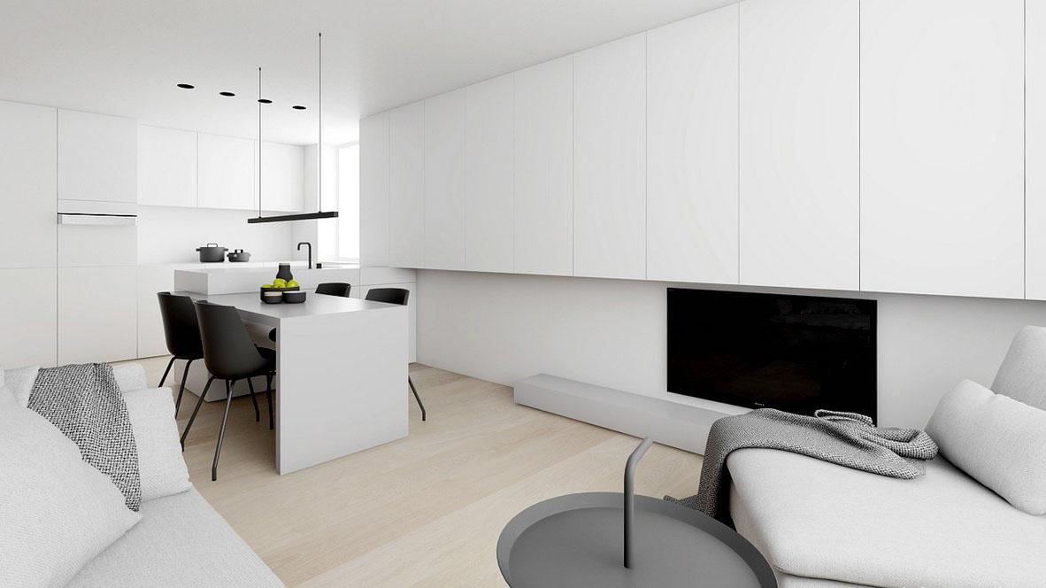 白色歐式家裝簡約影視墻效果圖大全