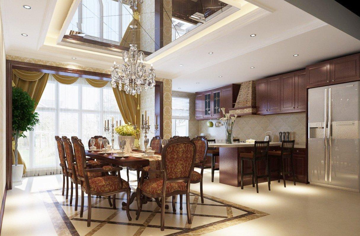 別墅室內設計餐廳廚房隔斷柜造型裝修效果圖片