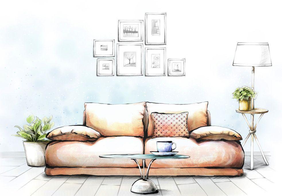 別墅雙人沙發裝修設計圖紙效果圖片