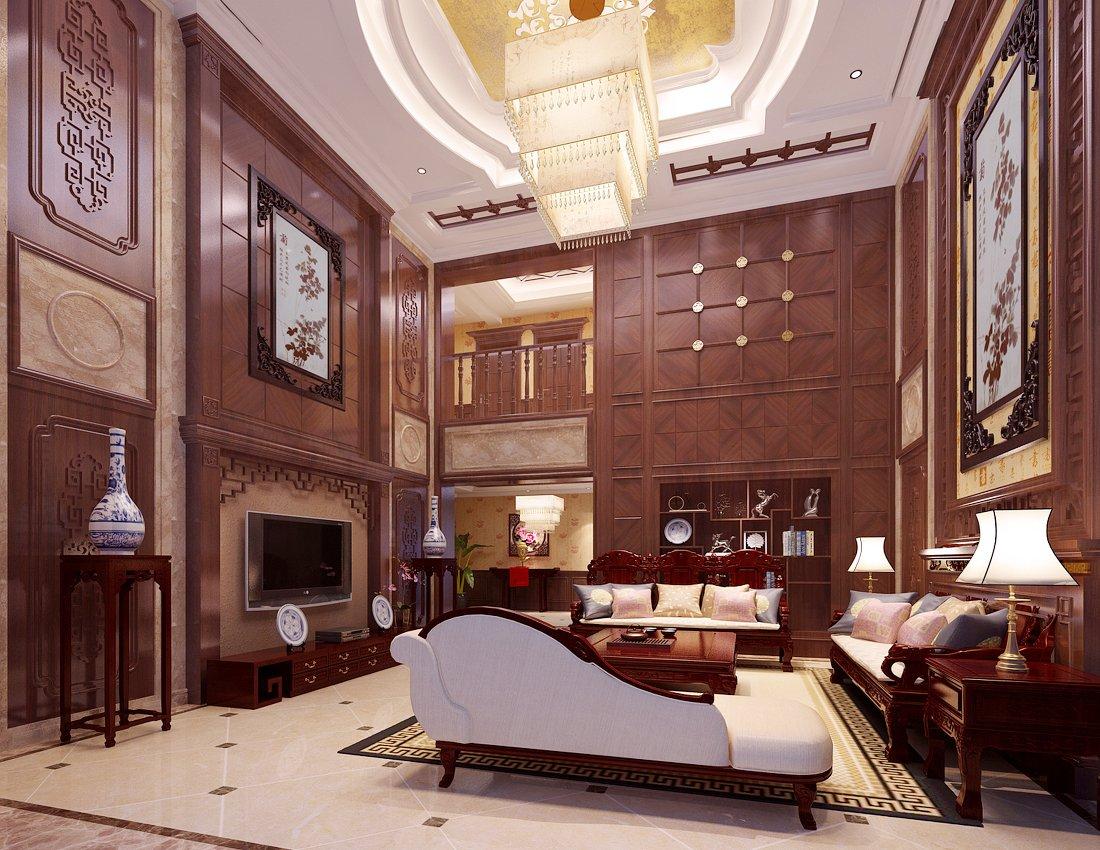 別墅現代中式大客廳背景墻設計效果圖