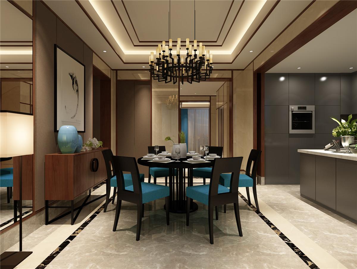 別墅新中式風格餐廳吊頂裝修實景效果圖