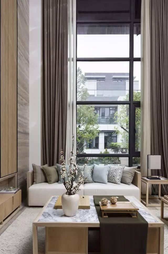 別墅中式客廳落地窗裝修效果圖片