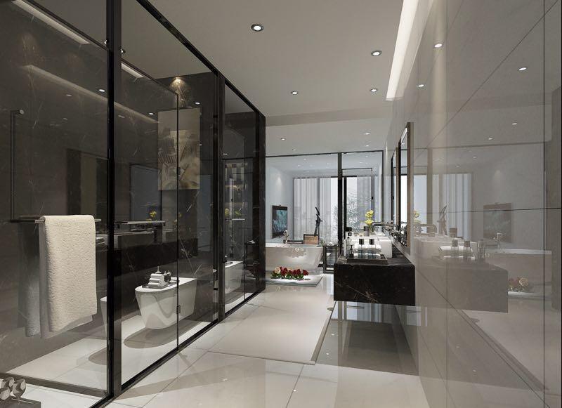 別墅主臥室衛生間玻璃墻裝修效果圖