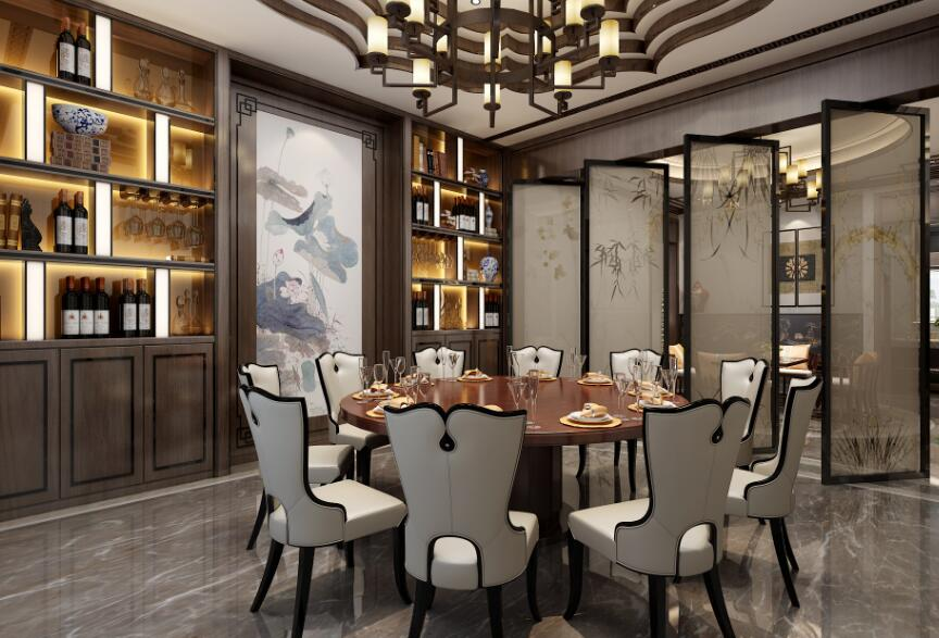 成都豪宅別墅新中式風格餐廳酒柜設計圖