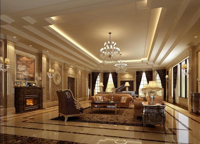 獨棟別墅客廳歐式燈具效果圖