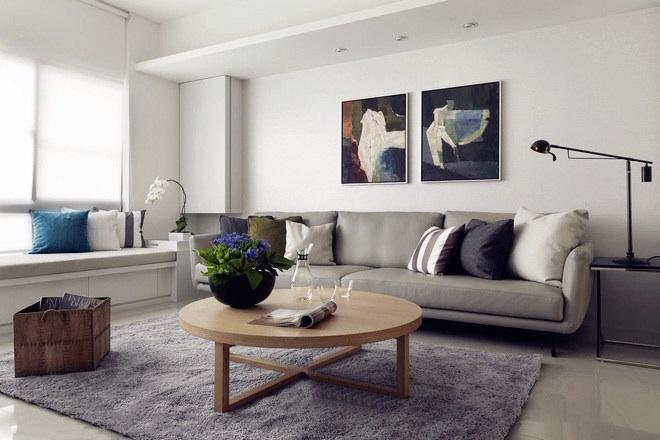 東方名城天鵝堡120平大平層現代風格客廳布藝沙發裝修效果圖
