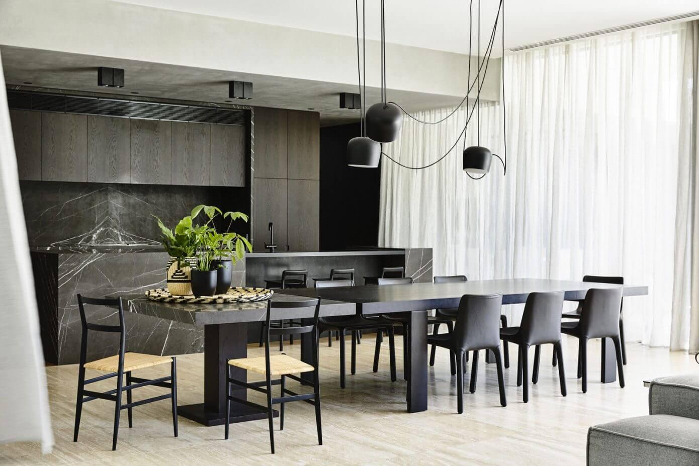 大戶型室內廚房餐廳一體裝修圖片