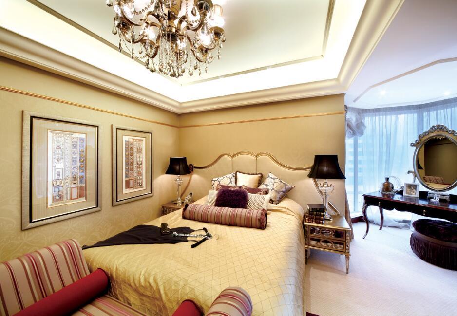 大戶型室內臥室床的裝修圖片
