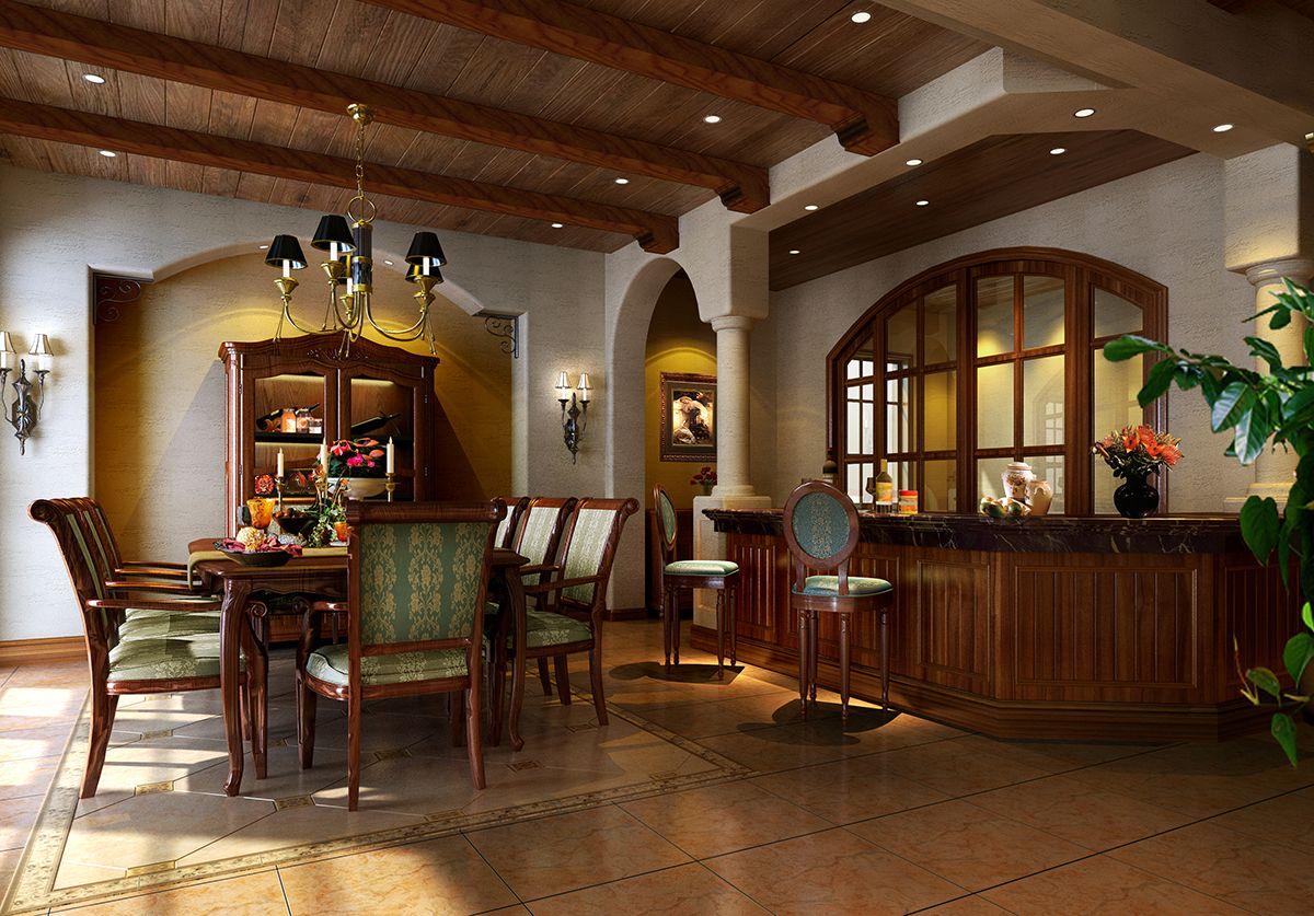 東南亞別墅餐廳吧臺設計裝修效果圖