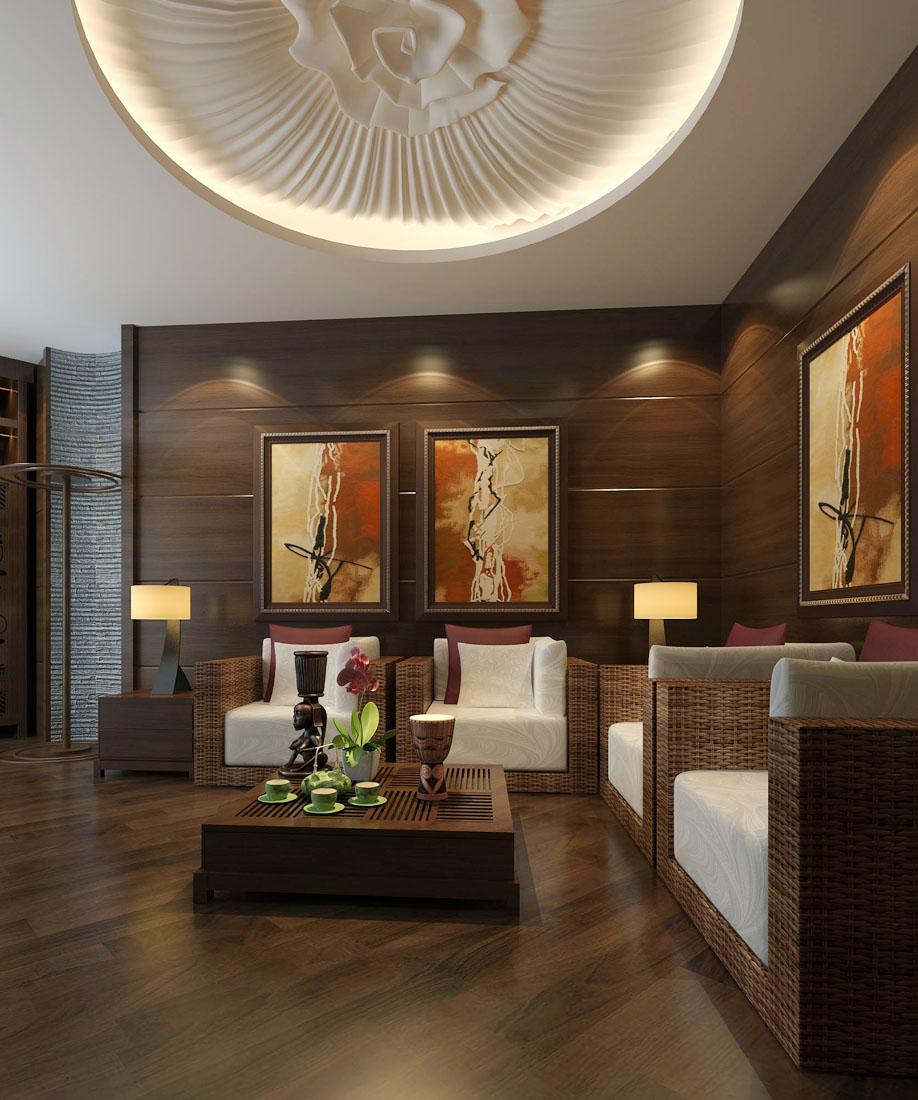 東南亞風格別墅客廳吊頂造型裝修圖片