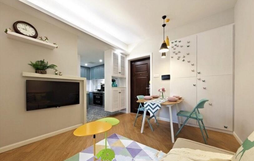單身公寓樣板房客廳電視背景墻置物架裝修