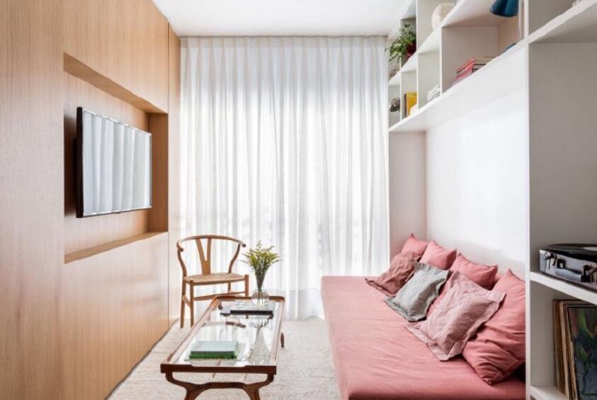 單身公寓樣板房客廳粉色布藝沙發裝修圖片