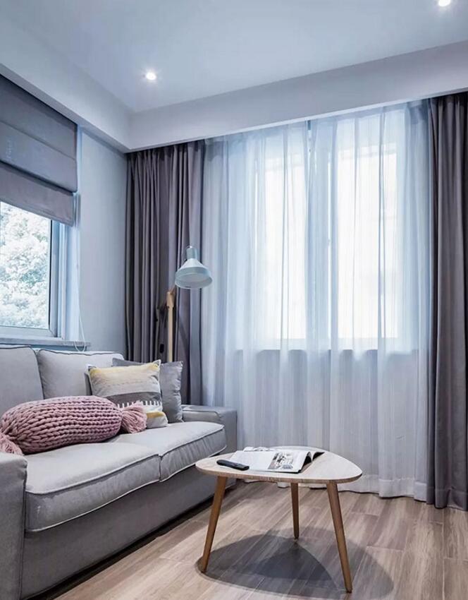 單身公寓樣板房客廳三角茶幾裝修圖片