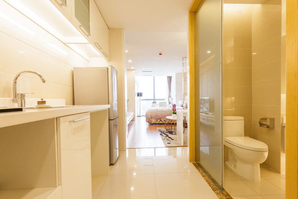 單身公寓樣板房衛生間玻璃門裝修設計圖