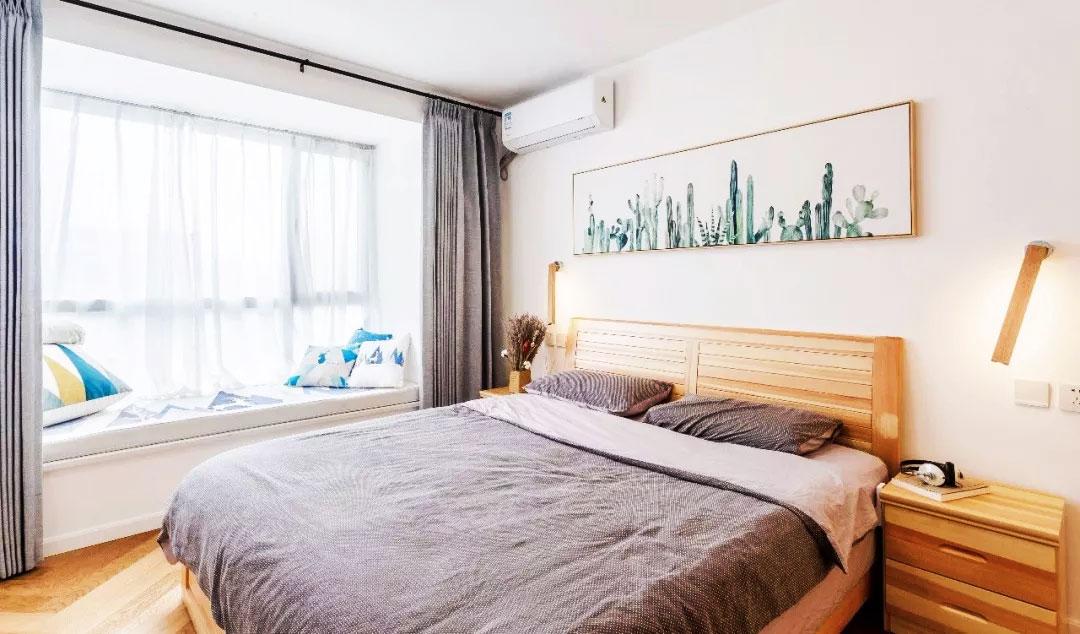 單身公寓樣板房臥室飄窗設計裝修圖