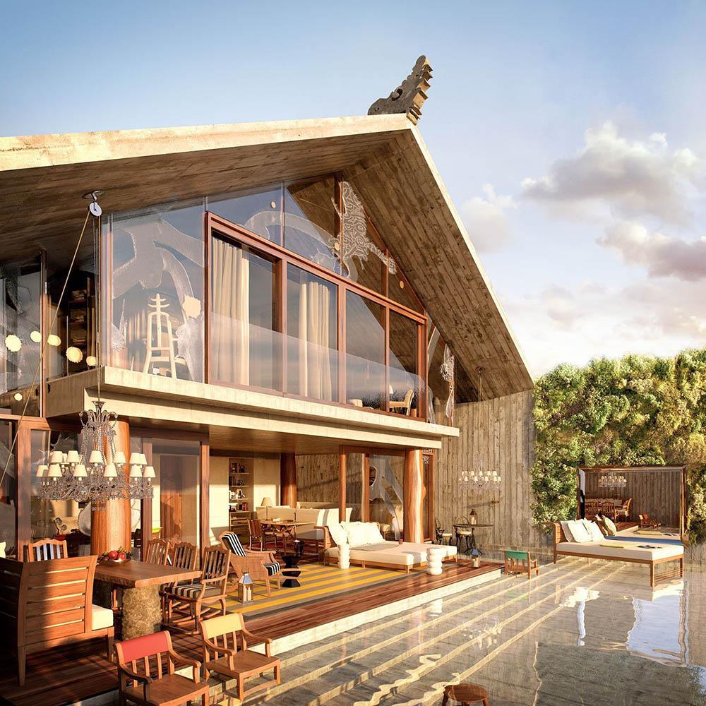 二層家庭別墅外觀設計效果圖