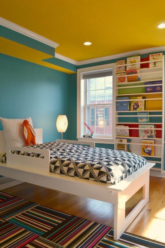 兒童房吊頂黃色裝飾布置圖片大全