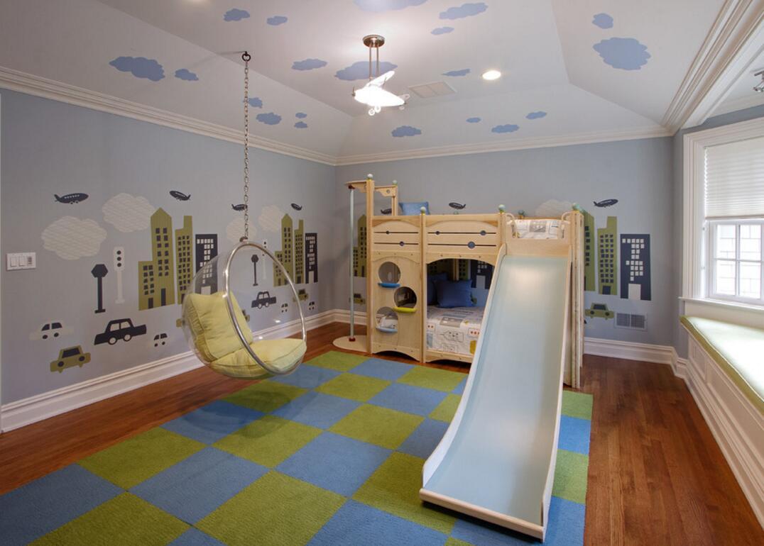 兒童房滑梯裝潢布置圖片