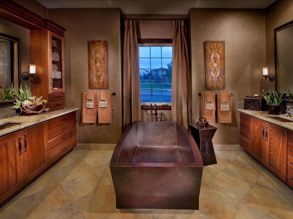 復古風格國外家裝衛生間背景墻面設計效果圖片