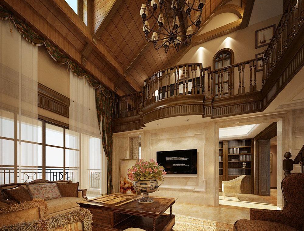 復古歐式豪華別墅木樓梯扶手裝修設計效果圖