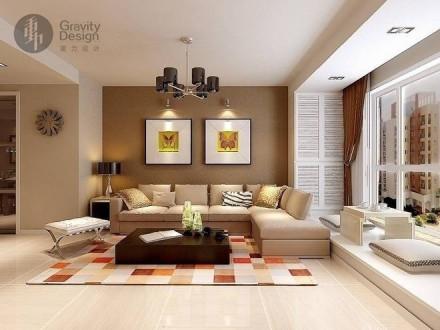 富力金禧城90㎡兩室一廳時尚簡約婚房客廳裝修效果圖