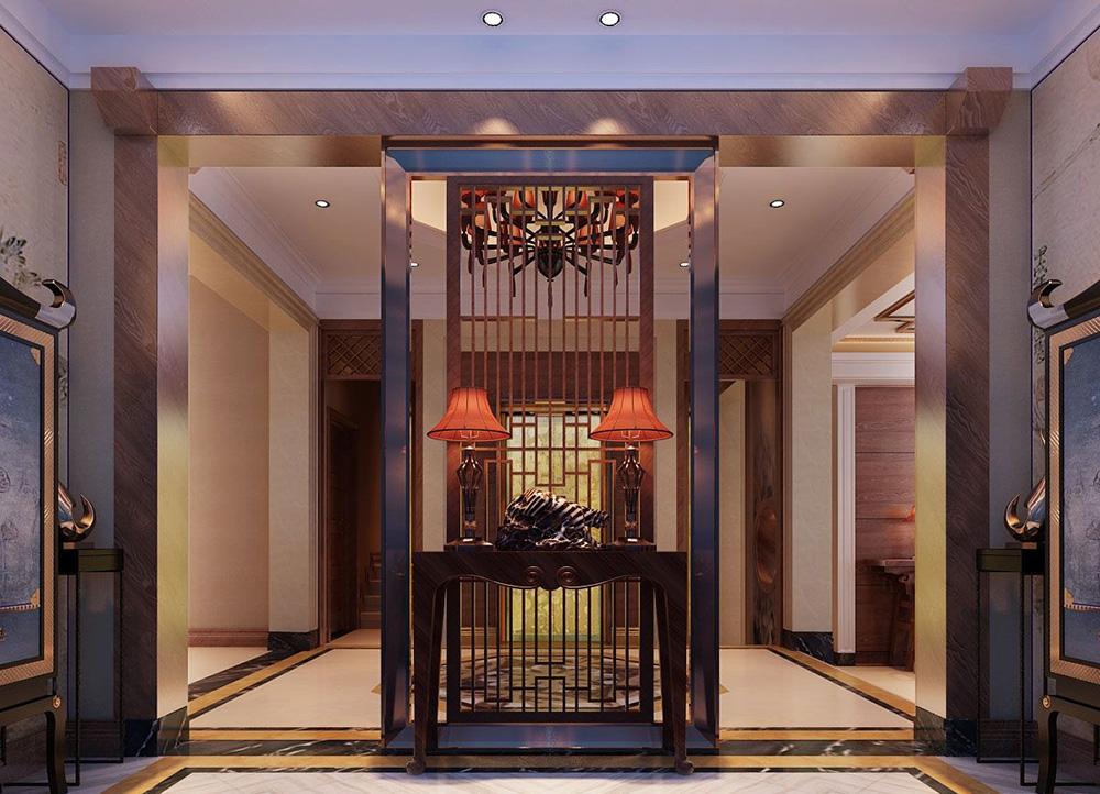 復式別墅大廳中式隔斷設計效果圖片