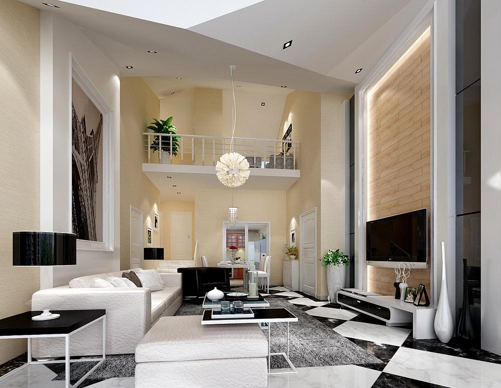 復式別墅客廳電視墻設計裝修效果圖片