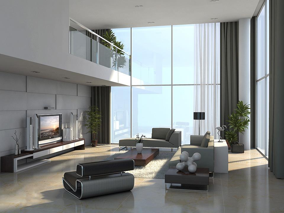 復式別墅現代風格客廳燈設計效果圖