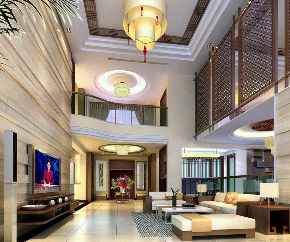 復式別墅中式客廳吊燈圖片大全