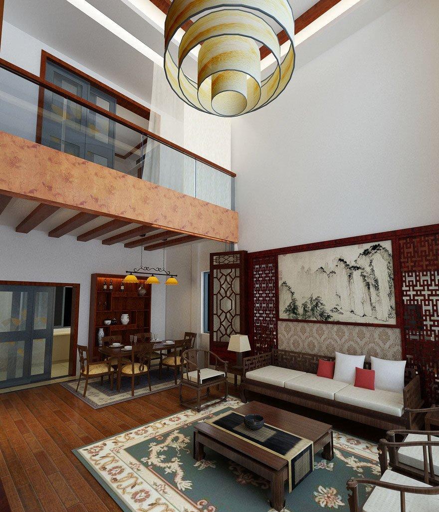 復式別墅中式裝飾效果客廳吊燈