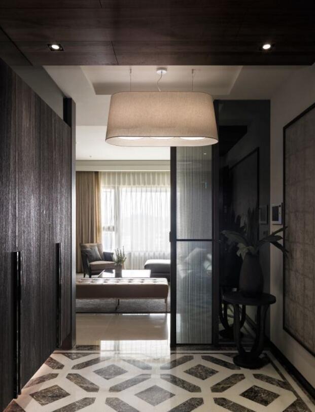 房屋進門玄關吊頂燈具裝潢設計效果圖