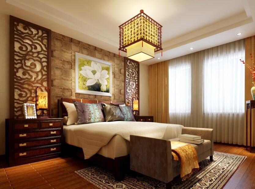古典中式風格房屋臥室吊頂燈裝飾設計圖片