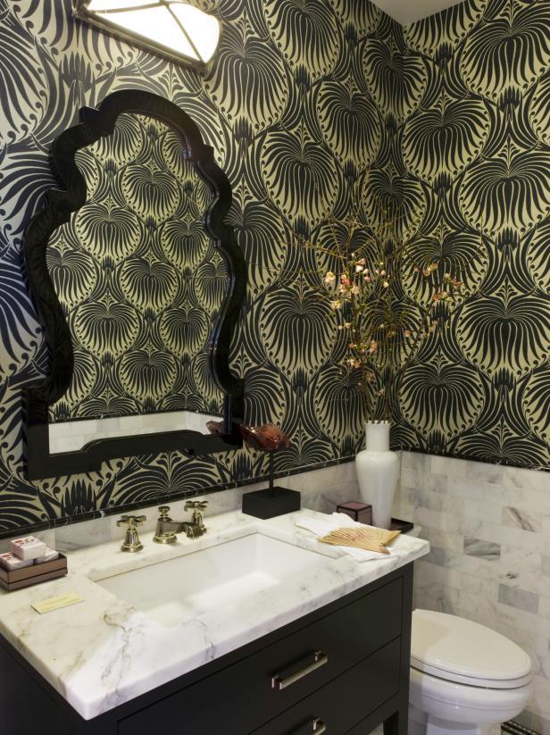 港式風格家居衛生間墻面壁紙搭配設計圖片