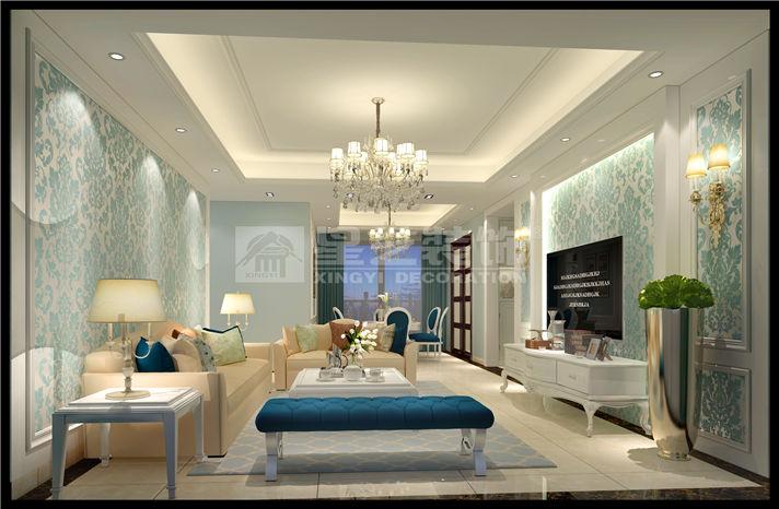 華發蔚藍堡200平米平層歐式風格客廳裝修效果圖