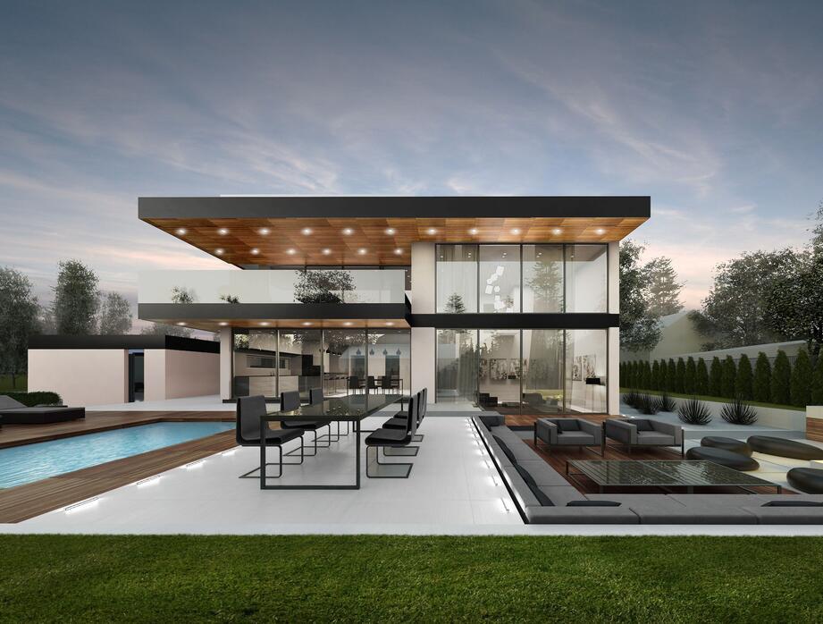 豪華別墅室外休閑區裝飾設計圖片