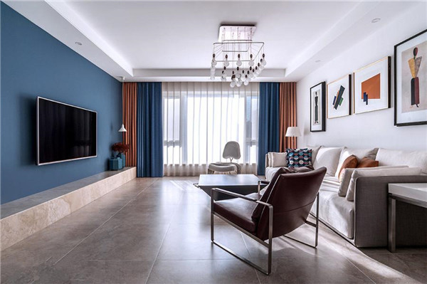 海倫小鎮126㎡三居室現代風格客廳裝修效果圖