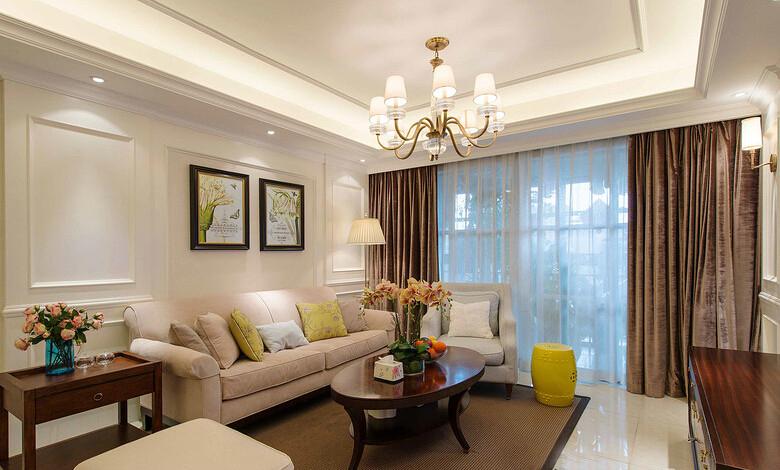 紅石原著132平米三居室美式風格客廳裝修效果圖