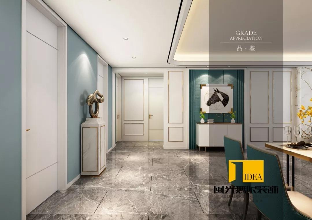 后現代風格170平米三居室過道家裝效果圖