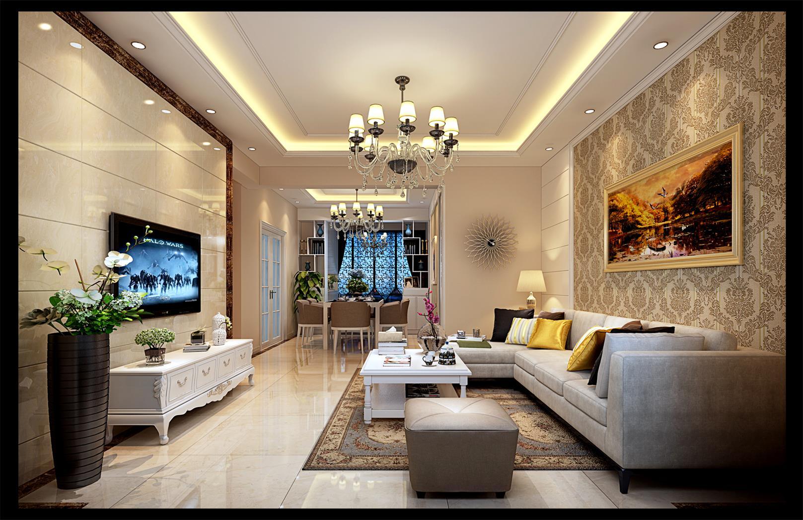 江都華晨簡歐102平平層客廳裝修案例