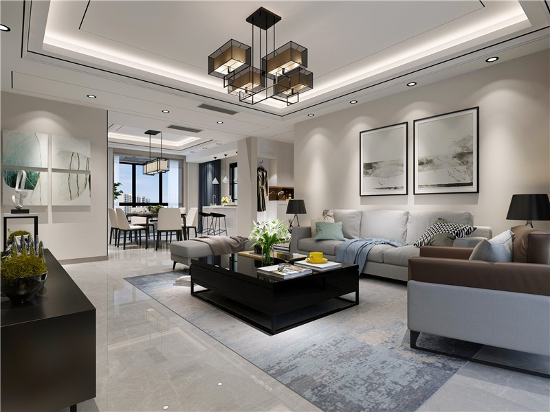 金地西灃家園現代簡約190平四居室客廳裝修案例