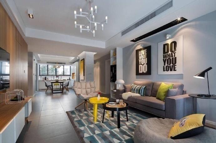建發國賓府120平米三居室現代風格客廳裝修效果圖