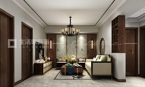 教工新村85平米兩居室新中式風格客廳裝修效果圖