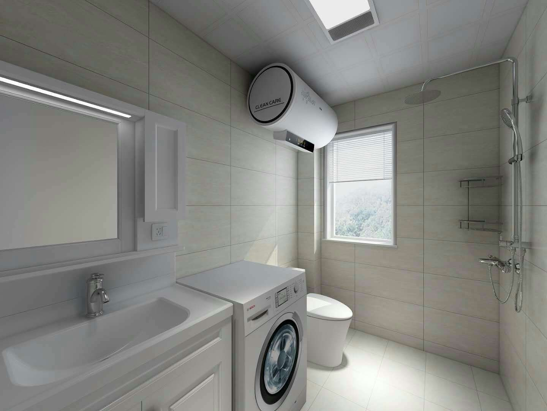 家居白色衛生間洗衣機擺放效果圖
