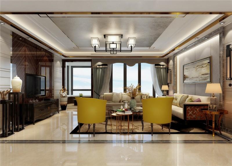九錦臺中式180平三居室客廳裝修案例
