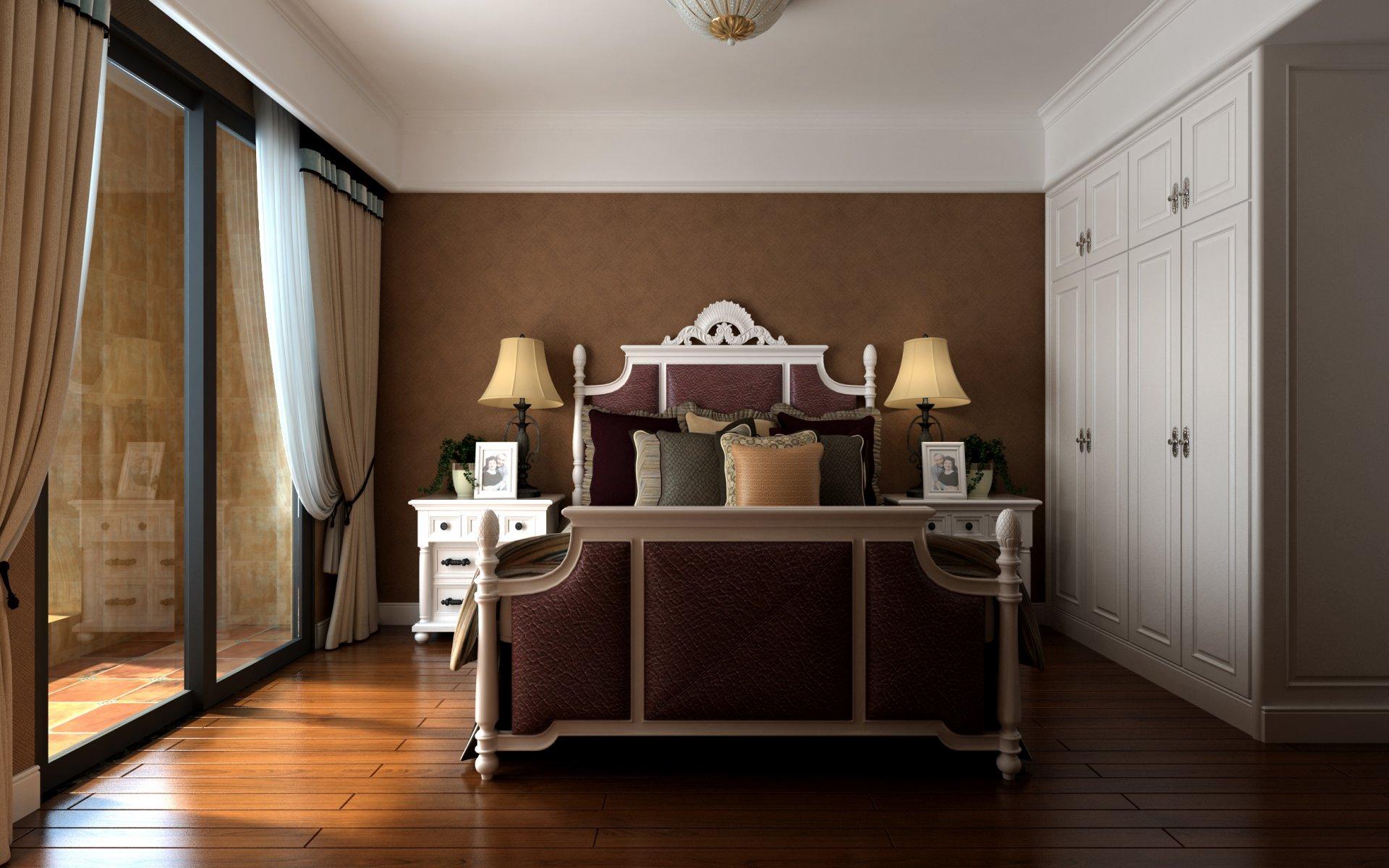 簡美式風格144平三居臥室背景墻裝修效果圖