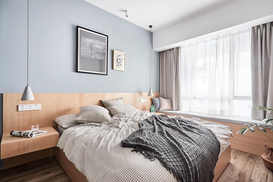 簡歐風格81平米臥室床頭造型設計裝修效果圖