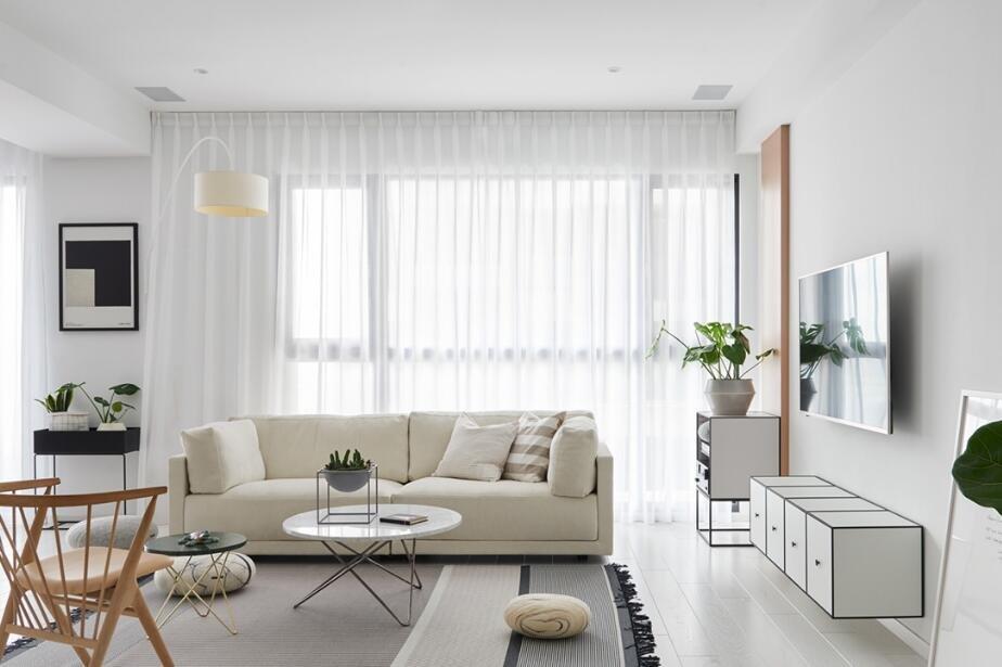 簡歐家居客廳白色紗簾裝修圖片