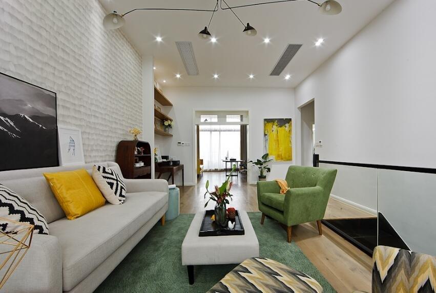 簡歐家居客廳布藝沙發茶幾裝修圖片