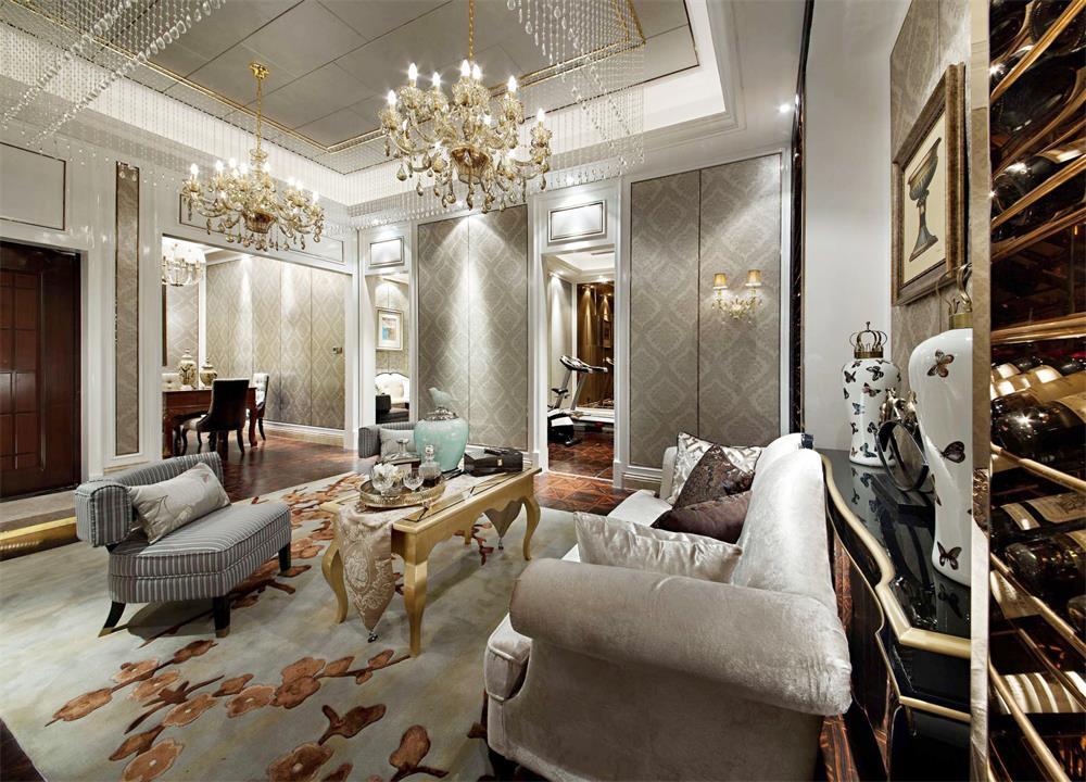 簡歐家居休閑客廳水晶燈具裝修圖片